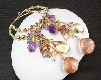 Copper Rutilated Quartz Amethyst Citrine Spinel 14k gold Filled Hoop gemsotne cluster earrings ... SULIEN Earrings
