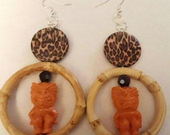 Tiki earrings, Tiki bar, Tiki luau, Tiki jewerly, Tiki, Leopard print, Ready to ship