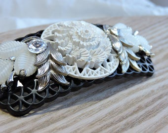 White and Black Upcycled Fancy Hair Clip