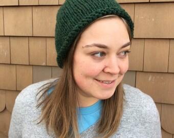 Green Rolled Edge Hat / Slouchy Hat / Winter Hat / Beanie / Wool Hat / Unisex