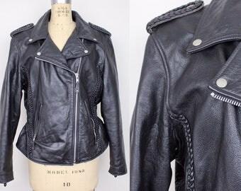 Vintage 1980s Black Leather Jacket | Braided Detail Leather Jacket | Boho Biker Motorcycle Leather Jacket | L