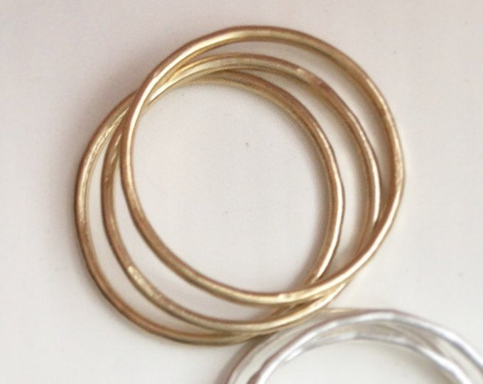 14K Gold Fill Stacking Ring SET - Midi Rings - Affordable Gold Bands - Hammered Gold Fill Rings - Thin Rings