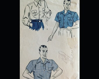 Vintage 40s Men's Pointed Collar Cool Cat Casual Button Down Shirt Pattern 1849 15 1/2