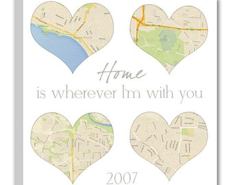 Custom 4 part square heart map canvas / your special locations in a heart shaped canvas gift for wife or husband, anniversary, wedding.