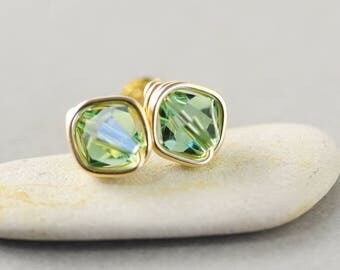Green Crystal Studs, Bicone Crystal, Light Green Posts, Gold Fill Studs
