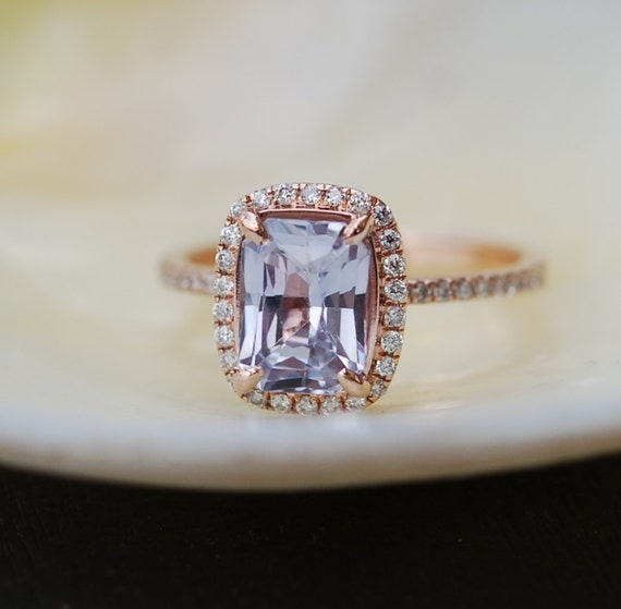 Rose gold Engagement Ring. 14k Rose Gold Diamond Engagement Ring. 2.02ct Ice blue sapphire ring. Engagement rings by Eidelprecious.