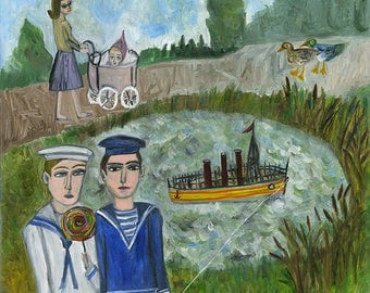 Sailors' holiday.   Original oil painting by Vivienne Strauss.