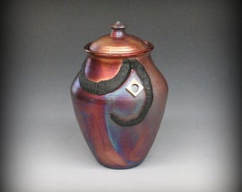 Raku Urn in Metallic Iridescent Colors