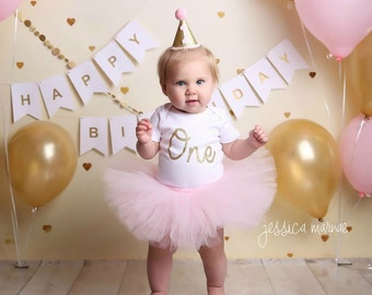 First Birthday Outfit Girl, Cake Smash Outfit Girl, Pink and Gold 1st Birthday Outfit, SEWN Tutu Skirt Set, Smash Cake Outfit Girl, Tulle