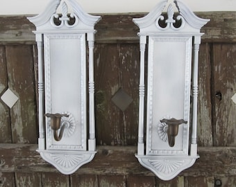 Architectural Burwood Candle Sconce Set Hollywood Regency Wall Decoration Shabby Chic Ornate Candlestick Holder Wall Plaques 2 pc Set -PAIR