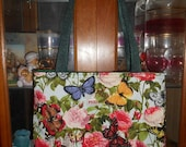 Butterfly Rose Tote Bag Floral Peony Spring Summer Handmade Purse Limited