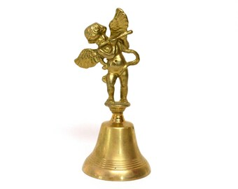 Brass Bell Featuring Cherub Playing the Flute