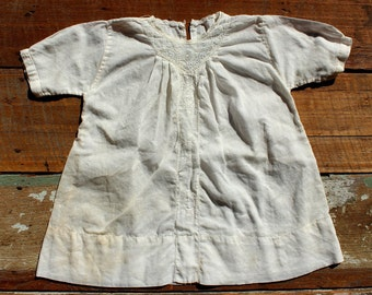 Antique Vintage Baby Gown - Cotton with Hand Embroidery - 1930's