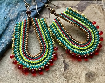 Red and Teal Earrings, Hand Formed Brass Loops, Seed Bead Jewelry, Southwest Style
