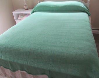 Vintage Chenille Bedspread Teal Green Scalloped Edges Day Bed Glamper  - Shabby Summer Cottage