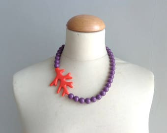 Purple orange necklace, purple coral branch necklace, orange necklace, orange purple coral branch statement