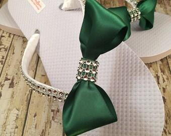 Heather Bridal Flip Flops, Bow Custom Flip Flops, Bow Gem Dancing Shoes, Bling Bridal Sandals, Wedding Flip Flops Beach Wedding Shoes