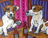 30% off Jack Russell Terrier at the Bar Dog Art Tile Coaster Gift