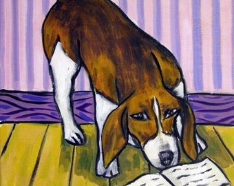SALE 10 % off for holiday Beagle Reading Dog Art Tile Coaster