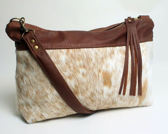 Hair On Hide Purse with Tobacco Leather Shoulder Bag