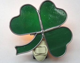 Shamrock NLs 5 Choices - 5 to Choose From - St. Patrick's Shamrock Nightlights -  Made to Order Stained Glass Shamrock Night lights