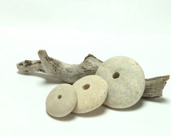 Genuine Drilled Beach Stone Stack PLATINUM BLONDE Cairn Pebble Spacers Natural Stone Stacker River Rock Pebble DIY Jewelry Making
