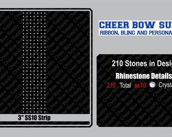 "3"" Cheer Bow Brick Grid Rhinestone Strip 3"" X 13"" INSTANT FILE DOWNLOAD"