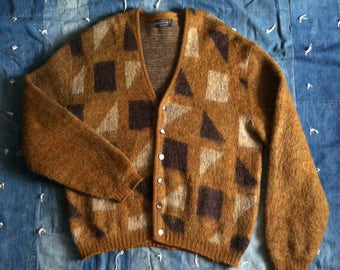 Vintage 1960's Puritan Mohair Geometric Cardigan Sweater - XL