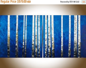 "Birch tree 60"" living room decor extra large wall art abstract painting on canvas brown blue white black office wall art by qiqigallery"