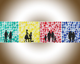 """Colorful art Family portrait Silhouette painting gift for mom Anniversary gift red yellow green blue """"Seasons of Life"""" by qiqigallery"""