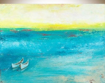 "Turquoise blue yellow white Boat Painting seascape Original artwork wall art gift for her shabby chic ""Home Bound Sunset"" by qiqigallery"