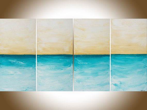 "Turquoise beige seascape painting Large wall art home office wall decor painting on canvas shabby chic ""Just Breath"" by QIQIGALLERY"