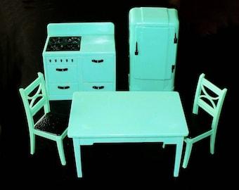 Vintage 1940s Renwal Dollhouse Furniture Jadite Green Kitchen Set