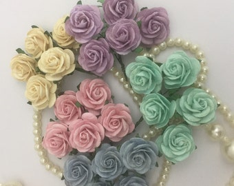 50 Blue Pink Cream Aqua Purple Mix Small Mulberry Paper Flowers for Baskets Scrapbooks Wedding Faux Cupcake Cards Crafts R6