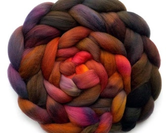 19.5 Micron Superfine Merino Roving Handdyed Combed Top, Flame Bush, 5.2 oz.