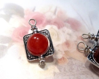 50% Off 6pcs Vintage Style Bead Charms, Dangles with 10mm Red Round Agates in Antique Silver Square Victorian Bead Frames. DA1019 G16