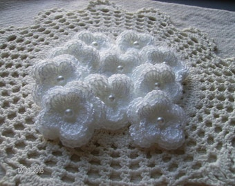 Crochet Double Layered Flowers set of 10 in white acrylic