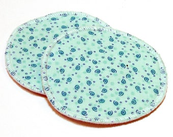 "Large 5"" Reusable Cloth Nursing Pad Set in Bamboo/Organic Cotton with heavy fleece in Quilter's Cotton - Teal Spiral"