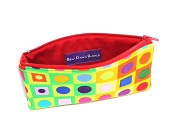 Pocket Zipper Case, Change Purse, Card Case, Coin Purse, Colorful Geometry 8623