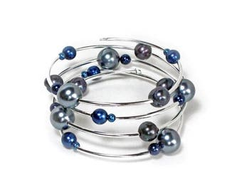 Clearance Sale Black grey and blue pearl beaded silver spiral bracelet