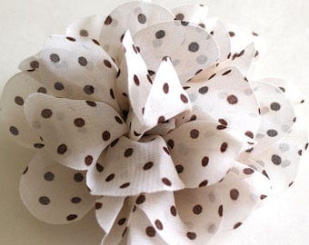 Clearance Sale Chocolate brown and cream flower polka dot fabric brooch
