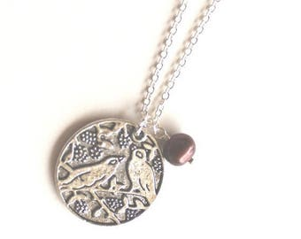 Clearance Sale Love birds on a branch pendant and brown pearl silver necklace
