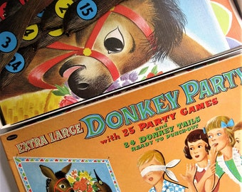 TWO Vintage Pin the Tail on the Donkey Games, Great Graphics, for a Large Party, Adults Can Play Too