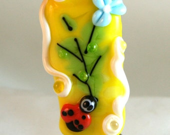 Yellow Ladybug Handmade Lampwork Focal Bead Burnt Wood Beads SRA USA