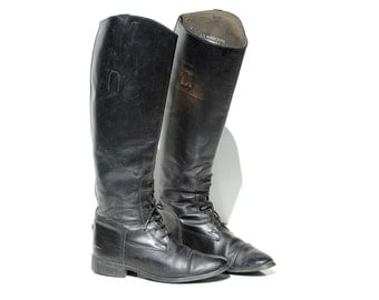 Vintage Black Leather Ankle Lace Riding Boots / size 7.5