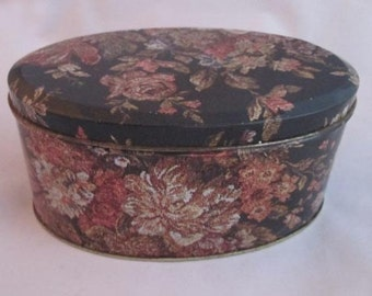 Vintage Little Tapestry Tin - Cottage Style Tin - Romantic Style Tin - Shabby Chic Decor