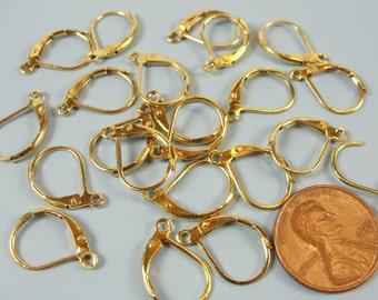 24 pcs of Golden brass  leverback earwires 15x10mm EWL 707