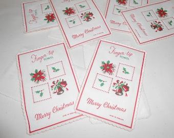 Vintage Merry Christmas Finger-Tip Towels, Vintage Christmas Napkins, Vintage Christmas Decor