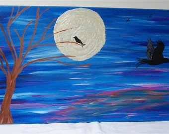"Raven's Flight, Original Acrylic Painting Wall Art Gallery Wrap  24"" by 12"""