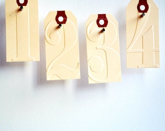 Number Gift Tags {10} | Embossed Tags | Manila Tags | Shipping Tags | Vintage Tags |  | Christmas Tags | Embossed Number Tags
